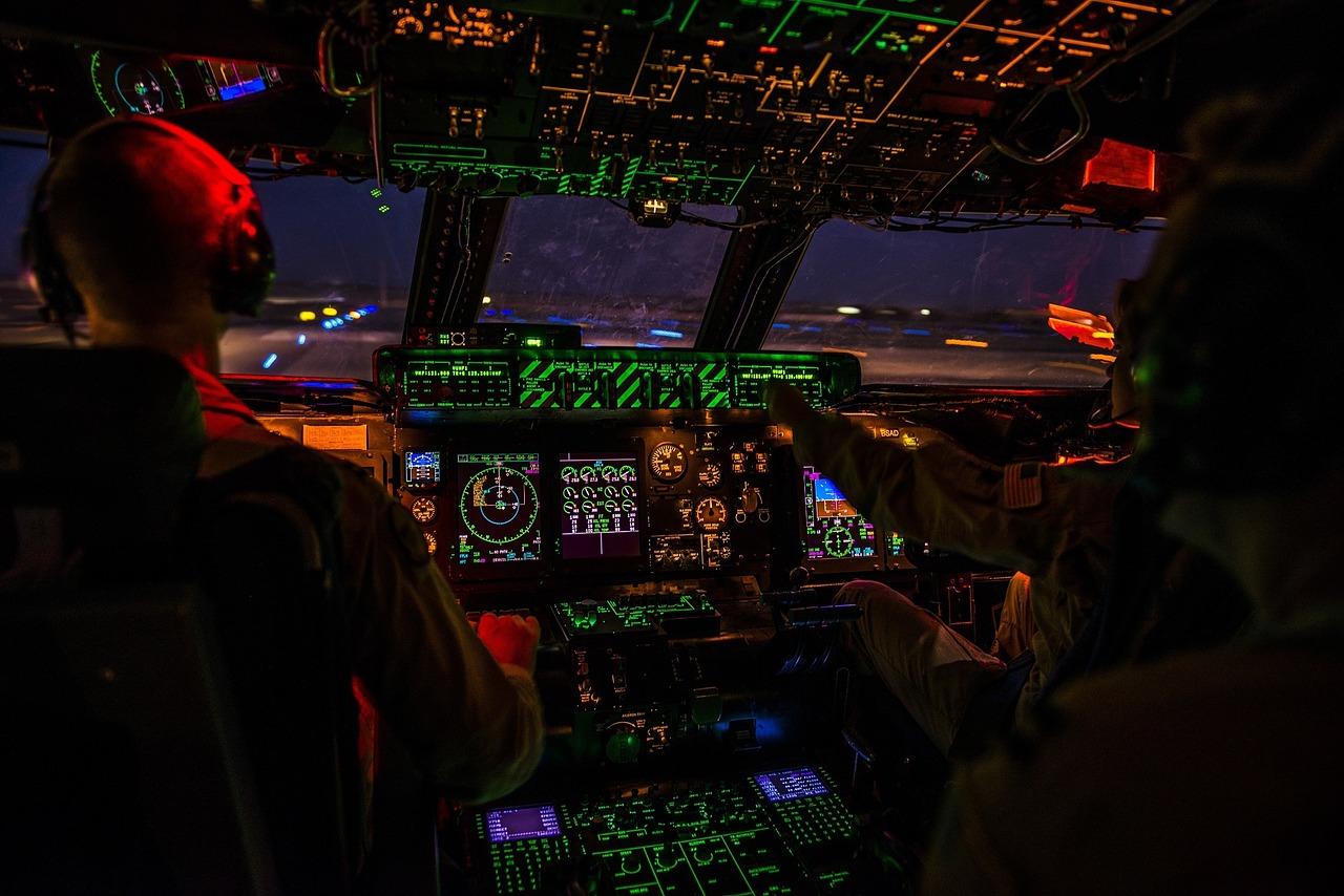 cockpit, night, airplane