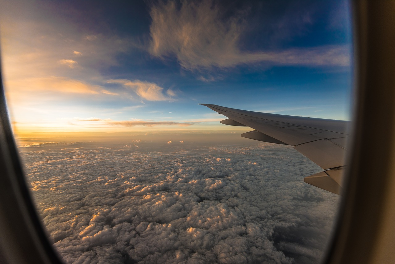 travel, plane, sunset